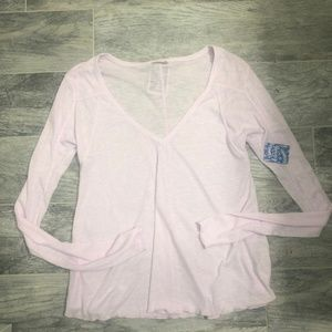 Free People Pink Cryst Waffle Knit Long Sleeve Top